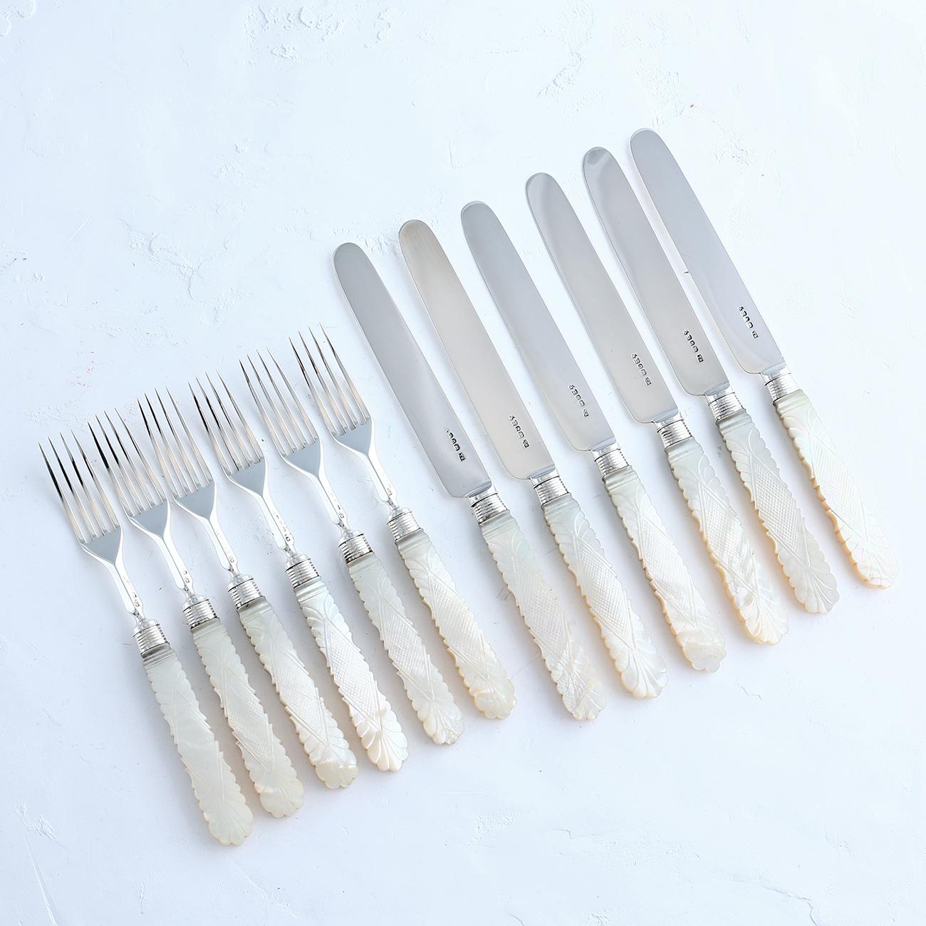 純銀とマザー・オブ・パールのナイフ&フォーク 6セット12ピース トーマス・サムソン・アンド・ソン社 箱付き 1830年代 シェフィールド 英国王室御用達